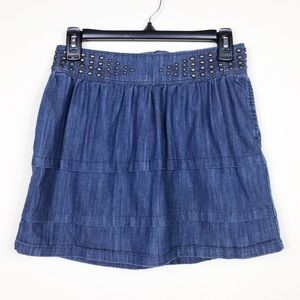 Juicy Couture Studded Jean Tiered Mini Skirt 27